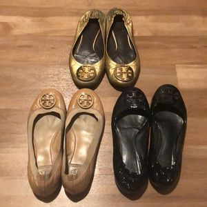 3 pairs of Tory Burch flats